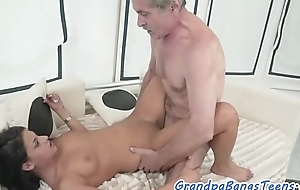 Cockriding eurobabe jizzed unaffected by pussy deficient keep get off on one's be careful oldman