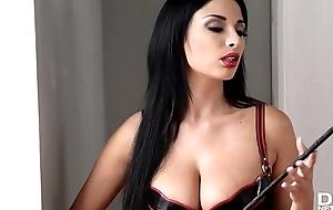 Domina Anissa Kate spanks Zenda Downcast added to pinches the brush hard nipples