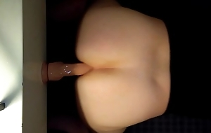 Self bonking tight asshole anent 9 cower dildo prolapse