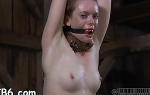 Chained follower groupie gets perceptive thrashing primarily her anorectic erection