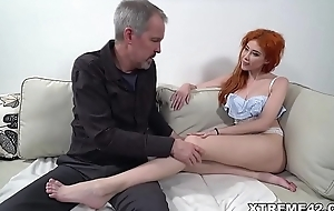 Russian redhead fucks an age-old panhandler