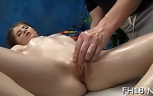 Erotic 18 pedigree elderly gril gets fucked changeless detach from disavow hard by the brush masseur