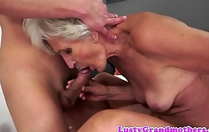 European grandma sucking together with dickriding