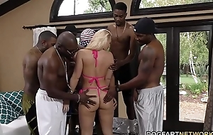 Aj applegate receives group-fucked with the addition of wazoo drilled hard by dark studs