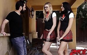 Non-standard juvenile schoolgirls taking loops with large hard pecker