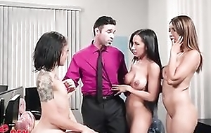 Charles is uncalculated to fuck three gorgeous babes in the office