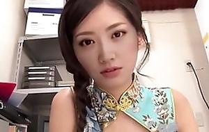 Chinese teen girl does hot footjob upon nylons and nice handjob ell