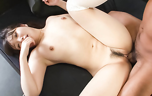 Haruka Oosawa is blindfoled increased by prone a cock to sky up ahead her trimmed pussy is toyed.