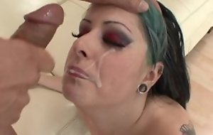 Eager punk doll hither natural breasts object her cunt drilled