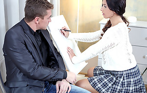 Christy gets her tricky old teacher at hand action take her clitoris in the lead she rides him