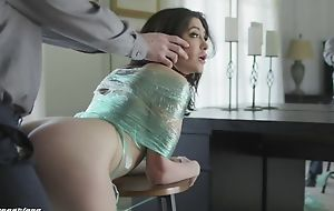 Naughty brunette with unartificial soul gets punished with a big dick