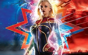 Busty Captain Marvel handles lots of big sting cocks