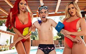 Several horny bitches with big juggs fuck Jordi hard by the pool