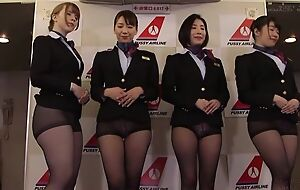 Group of Asian stewardesses getting fucked well-disposed and not that